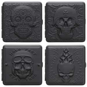 ATOMIC CIGARETTE CASE LEATHER SKULL (X6)