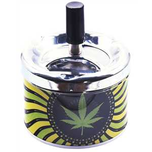 BELFLAM SPINNING ASHTRAY CANNABIS LEAF