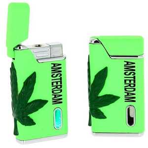 BELFLAM TURBO GREEN LIGHTER + AMSTERDAM & LEAF (X24)