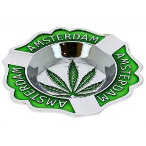 METAL ASHTRAY AMSTERDAM & LEAF EMBOSSED